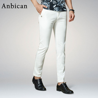 Anbican Fashion White Casual Pants Men 2017 Spring And Summer Office Work Mens Slim Dress Pants