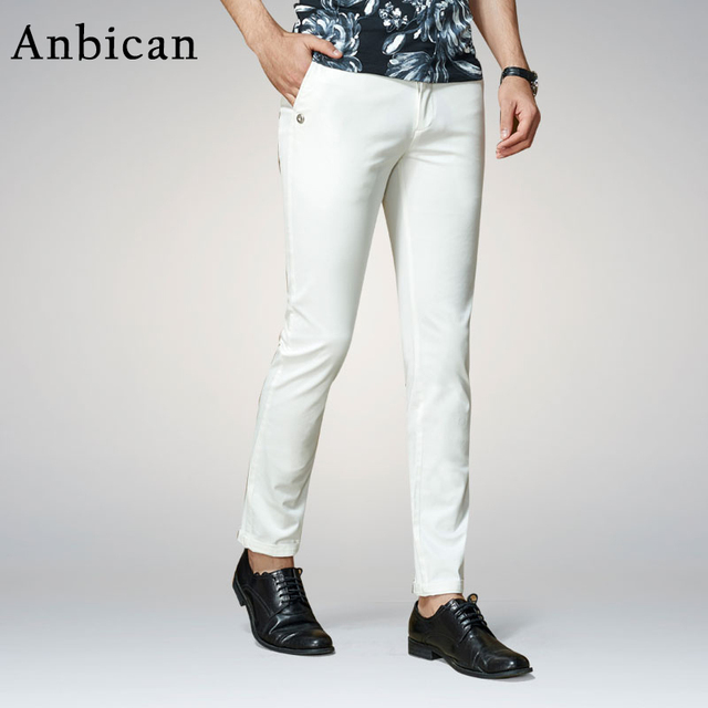 3e3c85506 Anbican Moda Blanco Pantalones Casuales Hombres 2017 Primavera y el Verano  de Trabajo de Oficina de