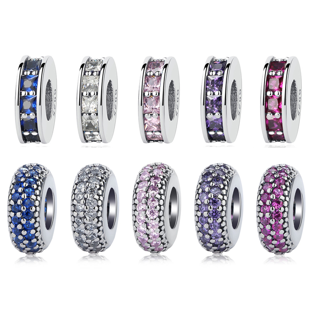 NBSAMENG Authentic 925 Sterling Silver Micro-pave Pure Color Spacer Charms Beads Fit Original Pandora Bracelets DIY Jewelry