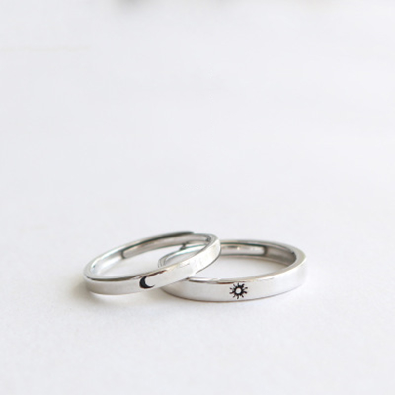 Qevila Fashion Silver color Ring Simple Style Moon Sun Love Adjustable Plate S925 Couple Rings For Girls Boy Best Friend Jewelry (2)