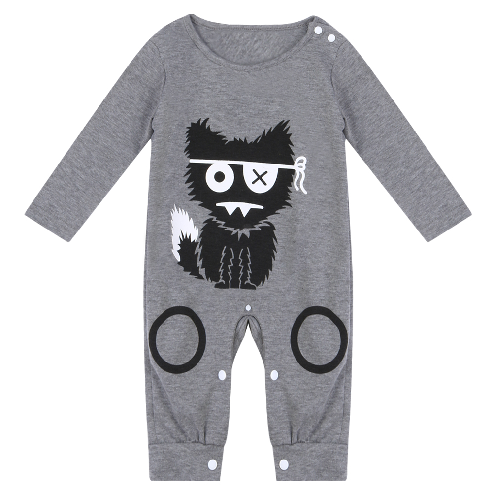 Cartoon Long Sleeve Baby Romper Little Pattern Baby Boy Girl Romper Infant Warm Jumpsuit Kids Cotton Clothes 3pcs set newborn infant baby boy girl clothes 2017 summer short sleeve leopard floral romper bodysuit headband shoes outfits