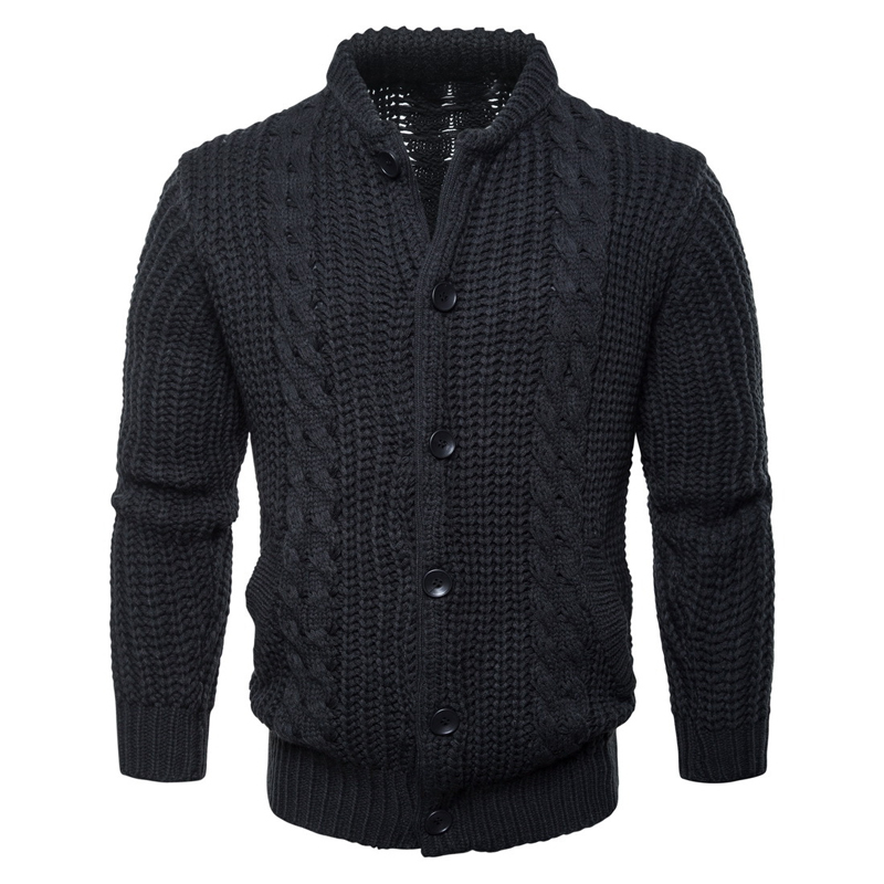 High Quality 2019 Winter Mens Long Sleeve Stand-collar Knitted Sweaters Casual Thick Mens Sweaters Coats Mens Knitted Outerwear