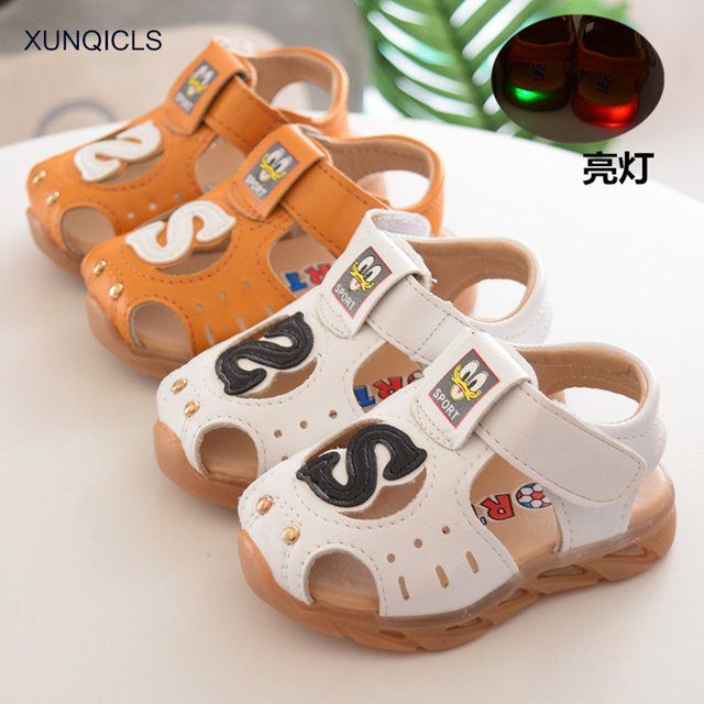 d9c4d3eb132d XUNQICLS 2018 New Summer Kids Toddler Shoes Baby Sandals Soft Bottom Casual  Boys Beach Sandals Cartoon Infants Cribe Shoes