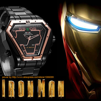 0391229b4729 Iron Man limited Edition Mens Watches Top Brand luxury WEIDE 2015 Military  Watch Relogio Masculino LED Display Triangle Watch