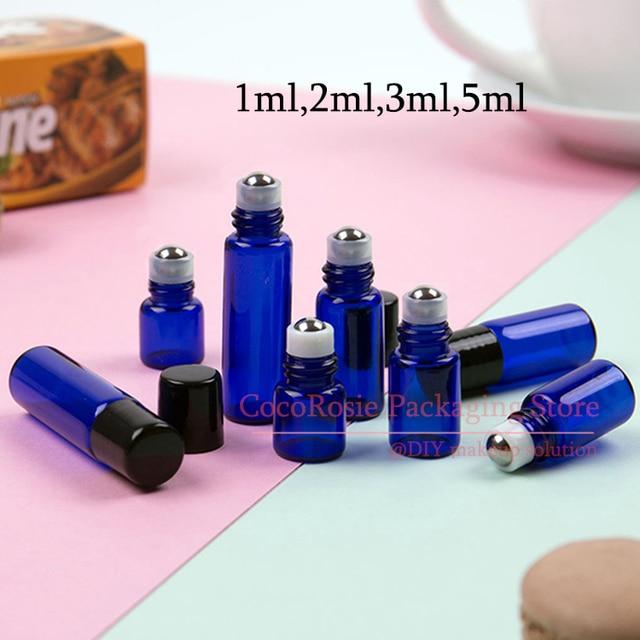 (50 יח\חבילה) 1ML 2ML 3ML 5ML כחול קטן רול על בקבוק עם נירוסטה רולר מיני זכוכית חיוני שמן רולר על בקבוק