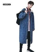Hombres de la calle hip hop Denim chaqueta Otoño Invierno moda casual gruesa chaqueta de abrigo Vaqueros capa