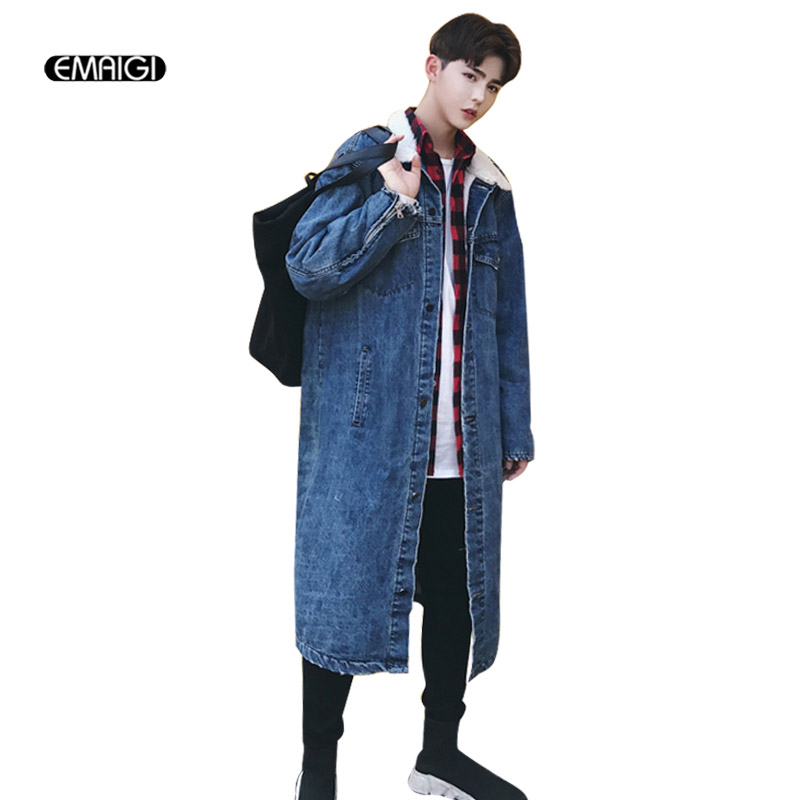Men High Street Hip Hop Denim Jacket Autumn Winter Fashion Casual thick Long Cardigan Windbreaker Outerwear Jeans Coat new men hip hop jeans mens long loose fashion skateboard baggy relaxed denim casual hiphop men street dancing pants large size