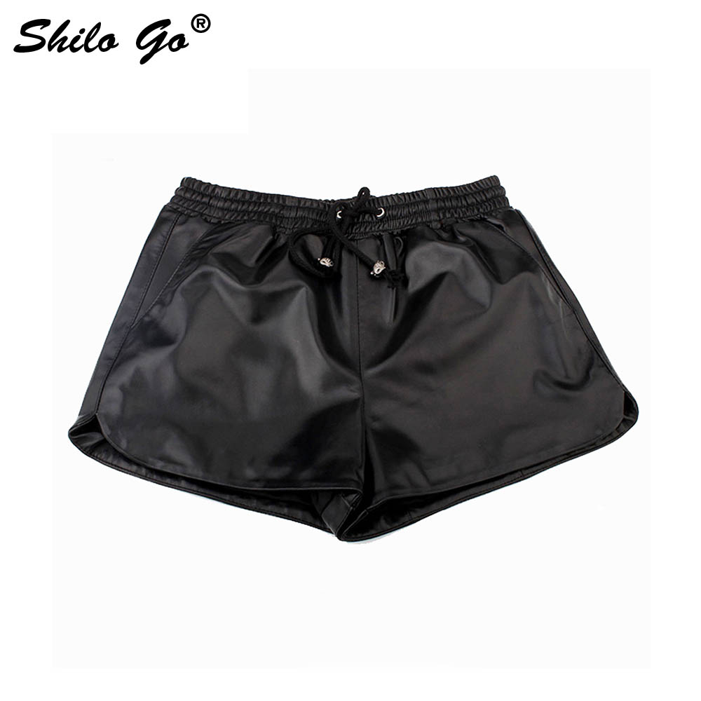 Leather Shorts Womens Autumn Fashion Sheepskin Genuine Leather Shorts Stretch Adjustable High Waist Concise Shorts