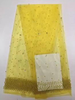 Latest Tulle Lace Fabric 2018 Applique French Lace Fabric High Quality Nigerian French Mesh Lace Material With Gold Beads Y007