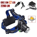AloneFire HP79 CREE XM-L2 LED 2200 Lumens Rechargeable Zoom Headlight LED Headlamp CREE For 2x18650 Battery+ Charger+Car charger