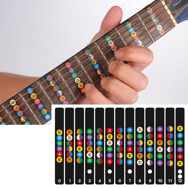 תוויות מדבקת שחיף לדאוג מדבקות הערות מפת Fretboard גיטרה 6 מיתרים אקוסטית חשמלי Guitarra