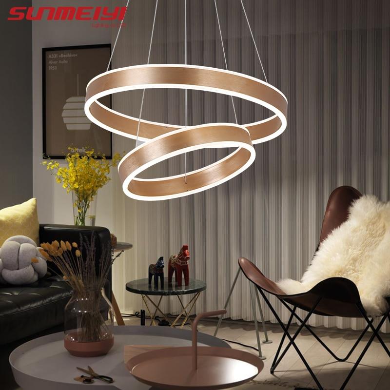 새로운 현대 3 원 링 LED 펜던트 조명 거실 식당 LED - 실내 조명 - 사진 2