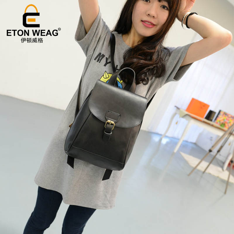 ETONWEAG Leather Backpack Women Black Vintage School Bags For Girls Preppy Style Cover Travel Backpacks Back To School