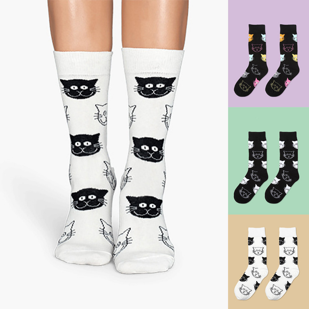 Underwear & Sleepwears Independent 5 Pairs Men Boys Autumn Funny Novelty Long Crew Socks Famous Oil Painting Contrast Color Cute Animal Printed Cotton Hosiery