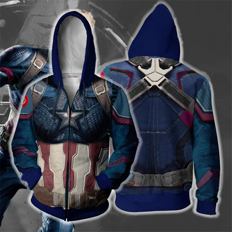 Captain America Fish Scales Clothes 3d Anime Avengers 4 Endgame Quantum Jacket Zip Coat Men Hoodies Sweatshirts Cosplay Costumes