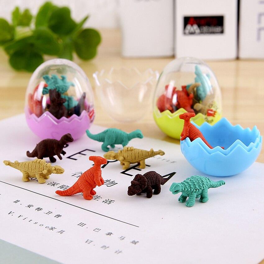 8pcs/lot Creative Kawaii Cute 3D Dinosaur Egg Shaped Pencil Eraser Stationery School Rubbers Office Supplies Student Rewarding