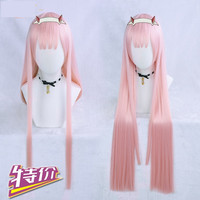 New DARLING in the FRANXX ZERO TWO CODE 002 Cosplay Wig Costume Accessory 85cm Long Straight Pink Women Girls Anime Party Hair