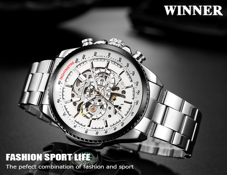 HTB1jkwlXG67gK0jSZFHq6y9jVXaK 2018 WINNER Fashion Design Black mechanical Watch Steel Automatic watch men black stainless steel band business Relogio Male-428