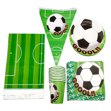 51pcs/lot Boys Favors Soccer Theme Napkins Baby Shower Hanging Banner Birthday Party Football Cups Plates Decorate Tablecloth