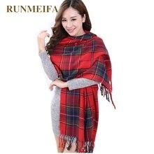 [RUNMEIFA] модный шерстяной женский шарф, испанский шарф Desigual, плотный большой шарф в клетку, женские шарфы, шаль для женщин