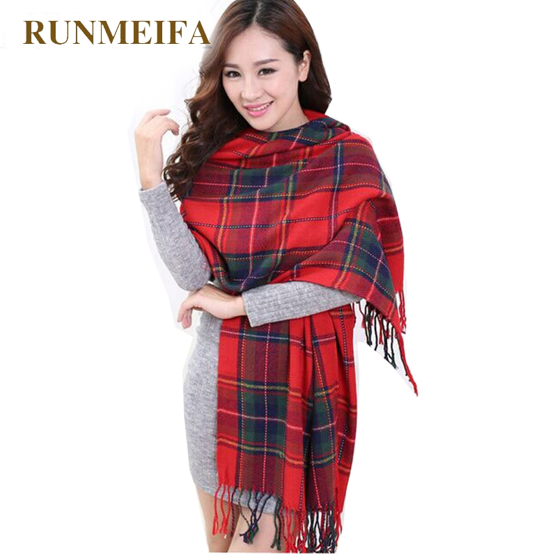 [RUNMEIFA]   Fashion Wool Women Scarf Spain Desigual Scarf Plaid Thick Large Scarf Women Warp Echarpes Scarves Shawl For Woman