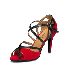 8.5 CM Szpilki Kobiety Latin Dance Buty Miękkie Podeszwy Kryty Taniec nowoczesny Taniec Trampki Klamry Czarne Czerwone Buty Do Tańca EUR34-42 Plus rozmiar