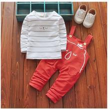 Boys 2PCS Pant Sets 100% Cotton 2017 Autumn Striped T-Shirts+Cartoons Gallus Pants Casual Outfits Kids Suits CHildren's Clothes