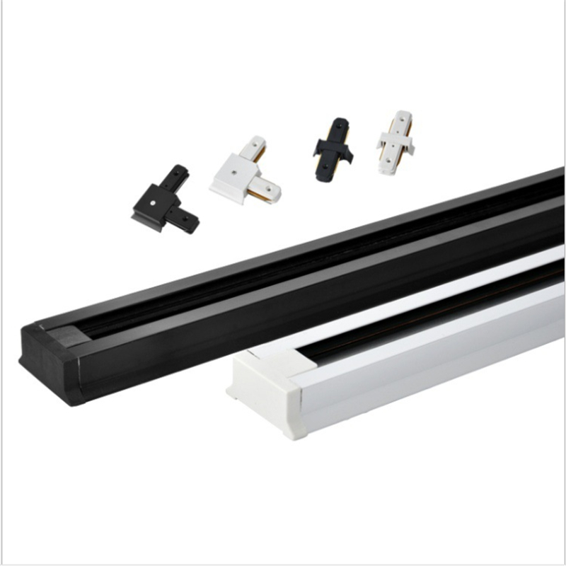 5pcs/lot Led Track Light Rail For 2 Line,100cm Aluminium White And Black Lead Rail With Connectors ,ceiling /wall Mounted  Track
