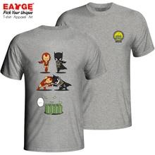 A Wonderful Batman And Ironman Fusion T Shirt Novelty Skate Brand T-shirt Style Fashion Pop Unisex Cotton Gray Double Sided Tee