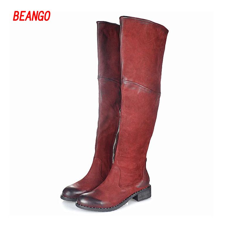 BEANGO Do Old Leather Women Long Boots 100% Genuine Leather Biker Sexy Bota Med Squared Heel Round Toe Autumn Winter Bootie 100% skiip25ac12t2 has imported genuine old [invoicing]