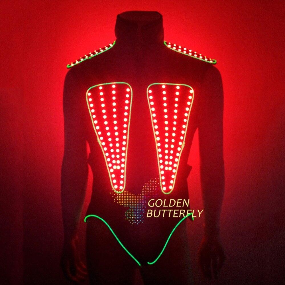 LED Vest Glowing Clothes Luminous EL Costumes 2017 New Bar Working Men LED Vest Party Catwalk Show Clothing Dance Accessories