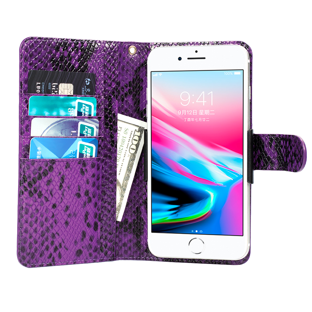 Luxury Snake Skin Solid Genuine Leather Flip Wallet Case For iPhone X Xs 7 8 6 6s 5 5s SE Cover and 5.2inch or less phone model