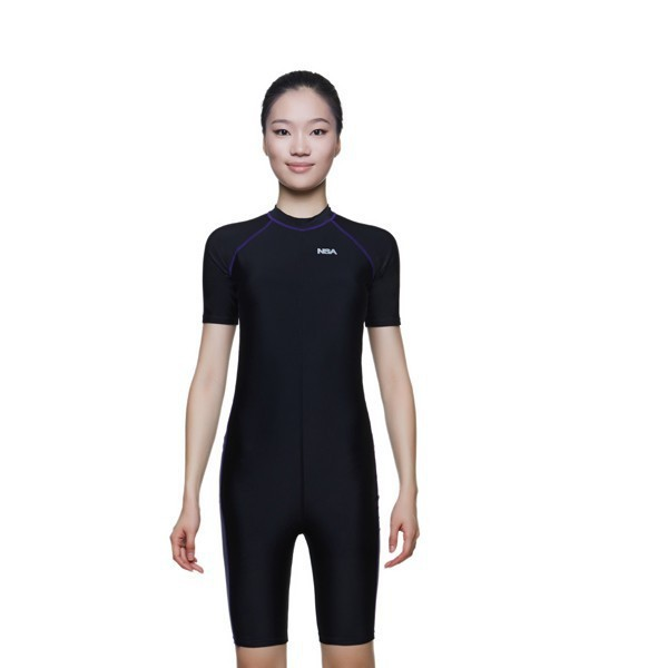 d23cd665b2 NSA one piece competition training knee length waterproof chlorine  resistant women s swimwear plus size swim bathing suit