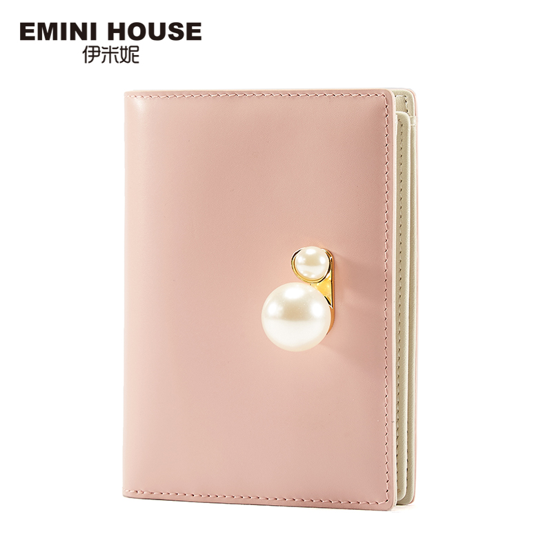 EMINI HOUSE Genuine Leather Pearl Wallet Luxury Lady Purse Hasp Folding Women Short Wallets Multifunction Women Coin Purse