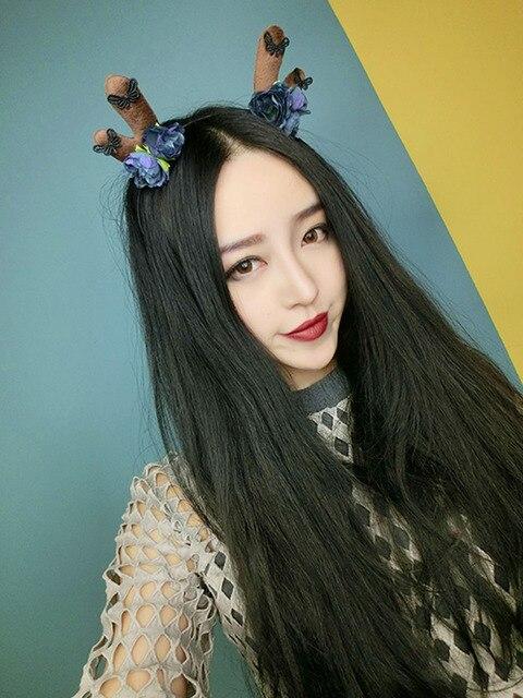 Halloween Women Forest Sweet Cute Lace Flower Fairy Antlers Buckhorn Party Hairbands Headwear Hair Head Accessories Women
