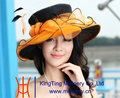 Free Shipping New Arrival Elegant Women Hat Organza Hat Wedding Dress 2 Tone Flower Wide Brim Summer Dress Fashion Accessories