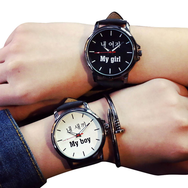 Couple Watches Lover's Quartz Analog Wrist Delicate Watch Luxury Leather Band Wa