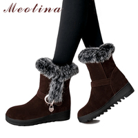 Meotina Winter Ankle Boots Women Snow Boots Real Rabbit Fur Short Boots Plush Shoes Platform Wedge Heels Red Plus Size 42 43