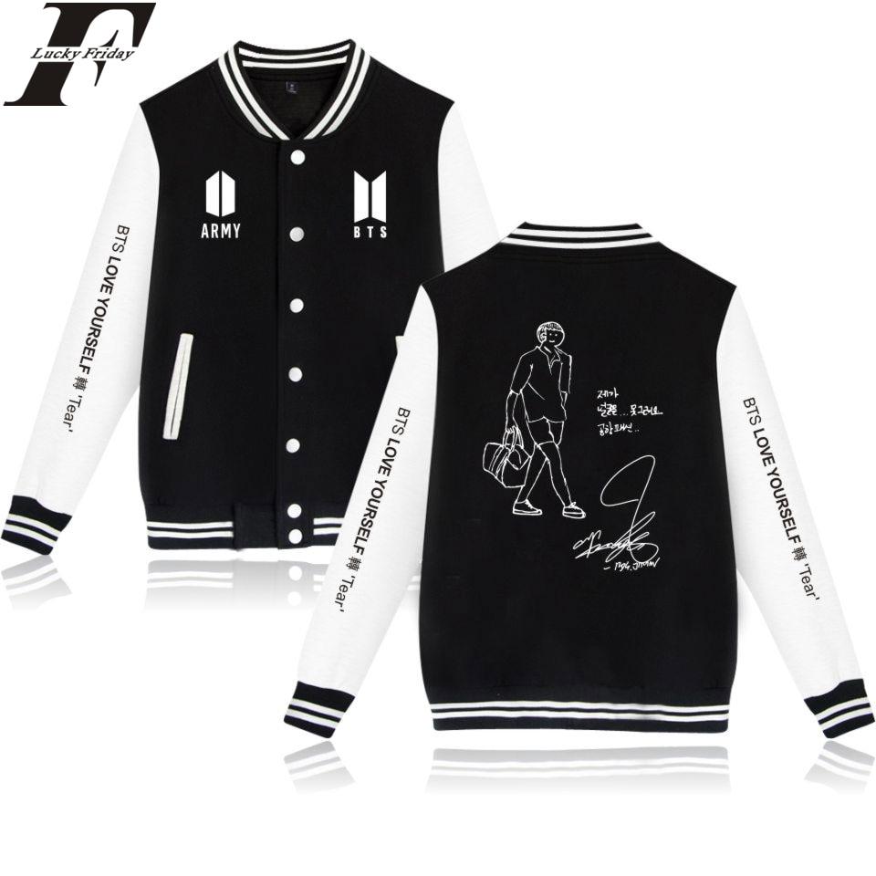 LUCKYFRIDAYF Self-portrait Baseball Jackets BTS Love Yourself Women/Men Sweatshirts Print Capless Casual Collage Style 4XL A7101