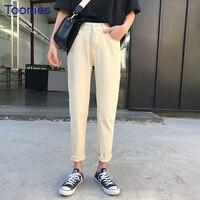 Mùa xuân Mới Thời Trang Cao Wiast Quần Denim Phụ Nữ Rắn Màu Beige Harem Pants Nữ Casual Pantalon Femme Quần Mỏng N
