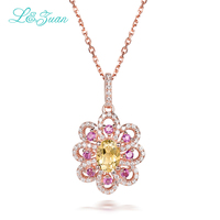 I&Zuan Colorful Diamond Jewelry 925 Sterling Silver Chain Natural Citrine Yellow Stone Pendant Necklace For Women Flower Shape