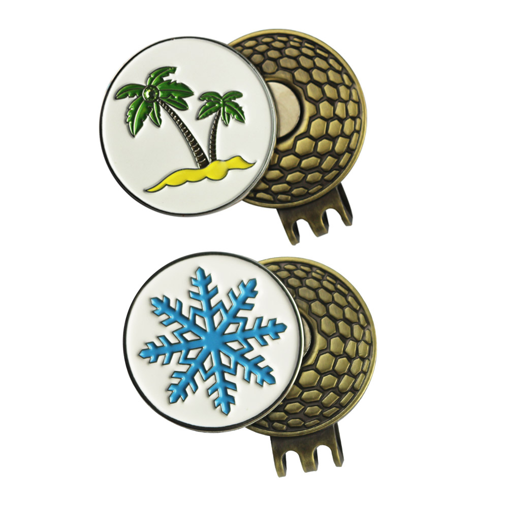 PINMEI Golfball Marks with Golf Hat Clips Sets- Palm Tree and Snowflake Patterns Golf Markers and 2pcs Cap Clips Sets