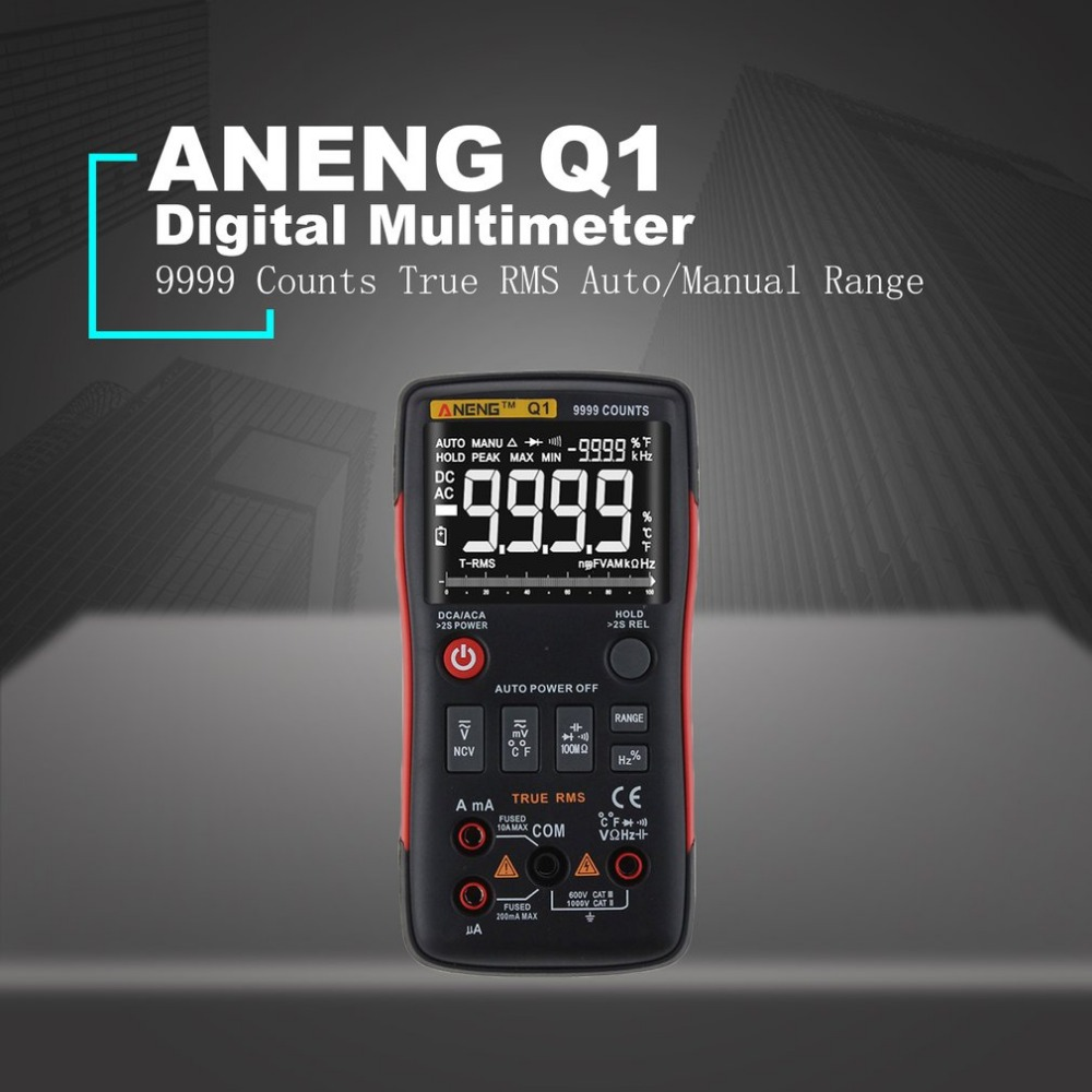 ANENG Q1 Digital Multimeter 9999 Counts True RMS Auto/Manual Range AC/DC Volt Amp Ohm Capacitance Frequency Temperature Tester