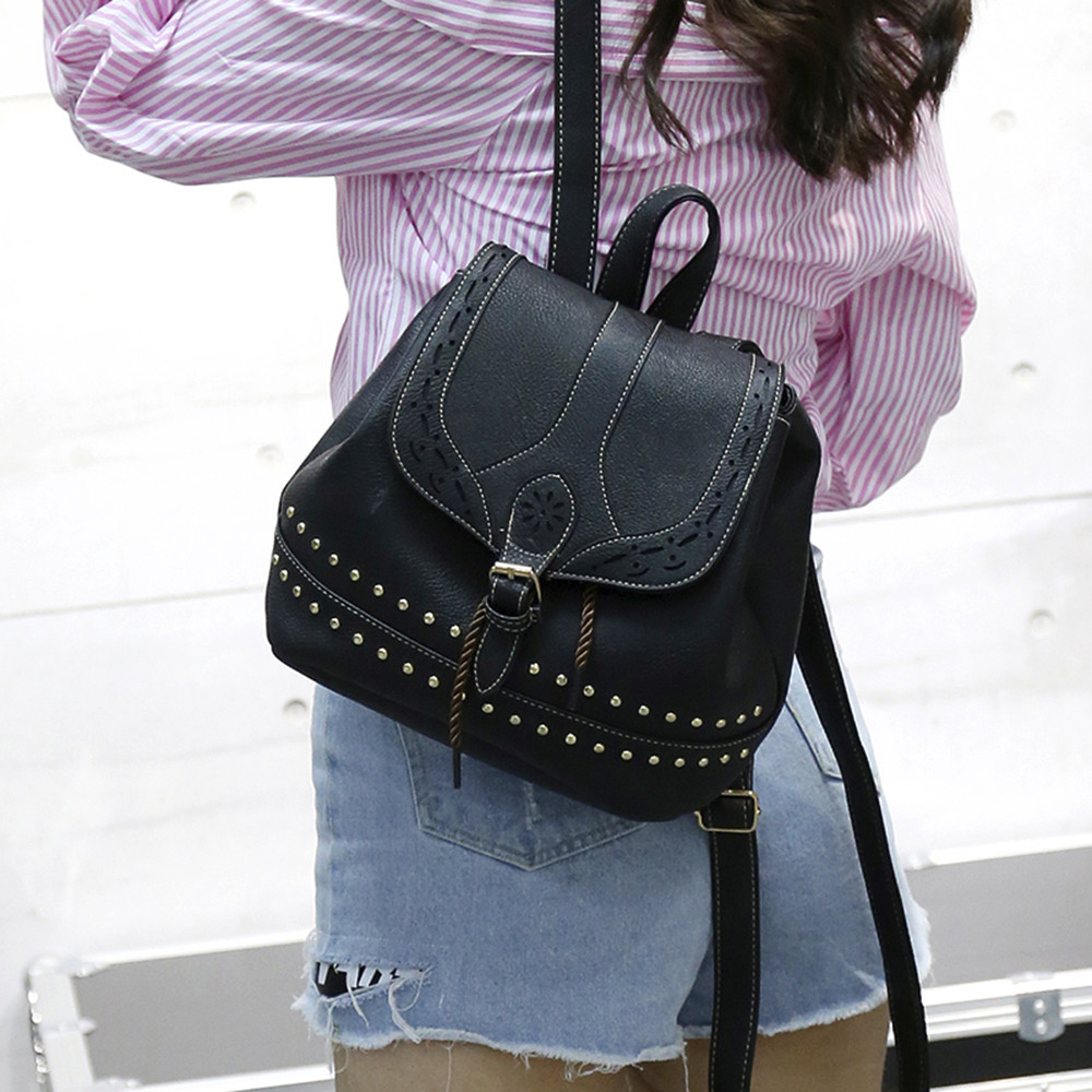 Fashion Women Backpack Vintage Hollow Out Travel Rucksack Drawstring School Bag Popular JUNE2