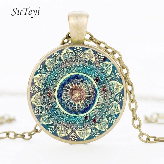 SUTEYI Vintage Glass Dome Necklace Buddhism Chakra Glass Cabochon Pendant Jewelry Om India Yoga Mandala Necklaces For Unisex 1
