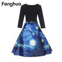 Fenghua Winter Autumn Dress Women 2017 Ukraine Vintage Thicker Warm A Line Dress Elegant Floral Party
