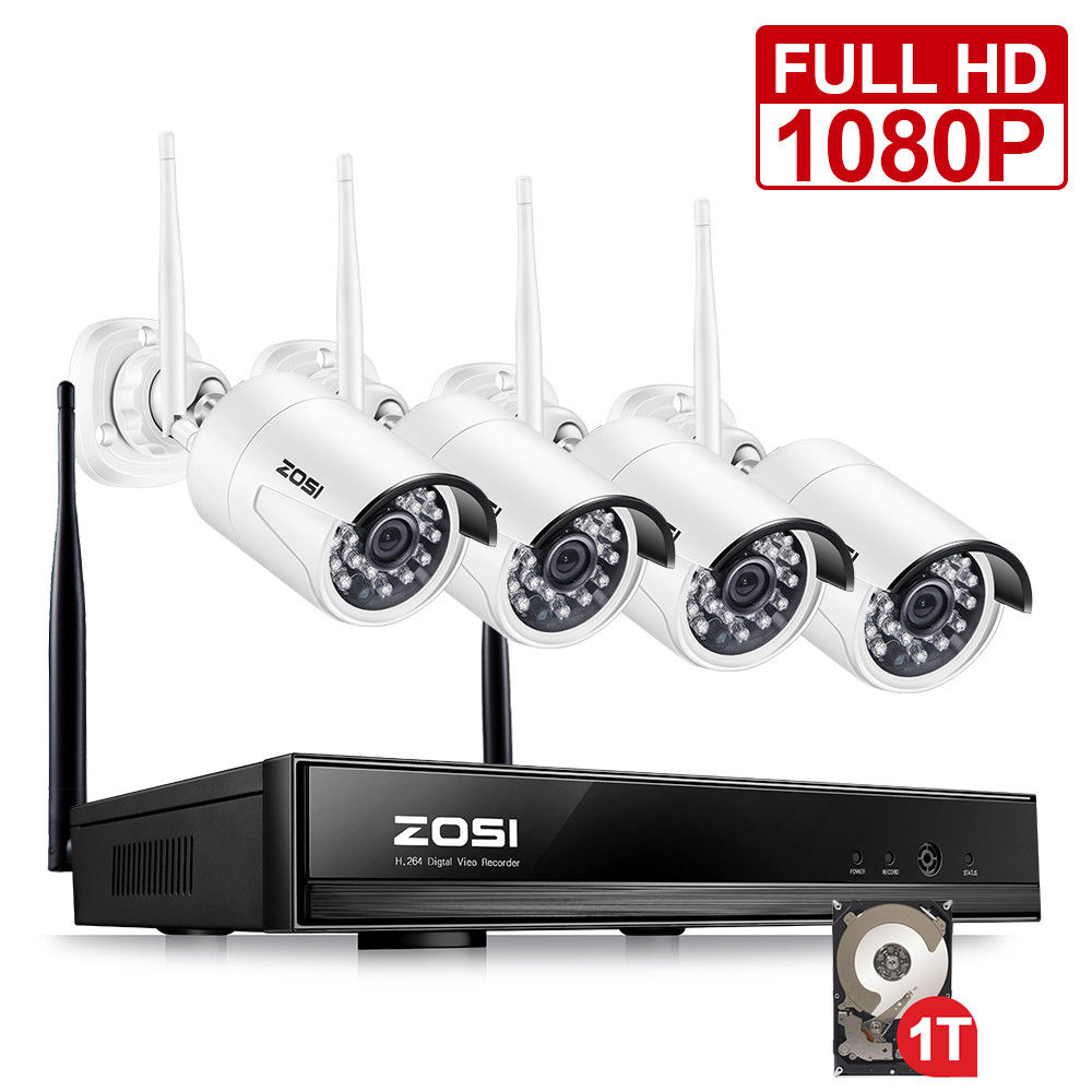 ZOSI 1080P HD Wi Fi Wireless Security Camera System 4CH 1080P HDMI NVR With 1TB HDD