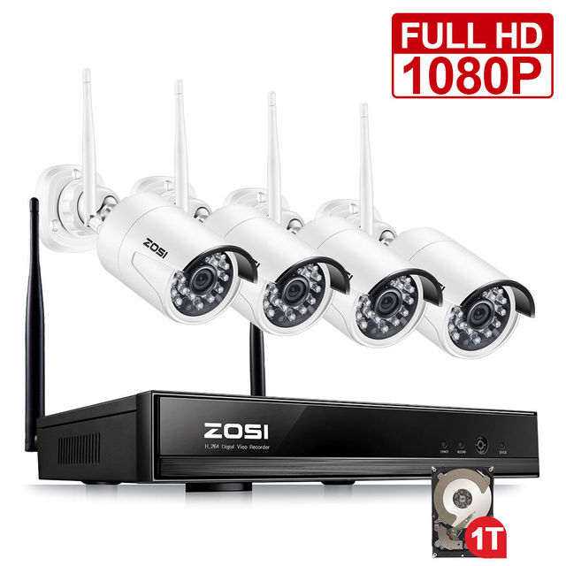 99399050377 ZOSI 1080P HD Wi-Fi Wireless Security Camera System 4CH 1080P HDMI NVR With  1TB HDD and (4) HD 2.0MP Indoor Outdoor IP Cameras