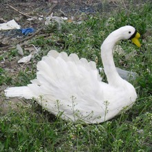 cute white simulation swan toy Foam and feathers beautiful Swan props gift about 30x40cm
