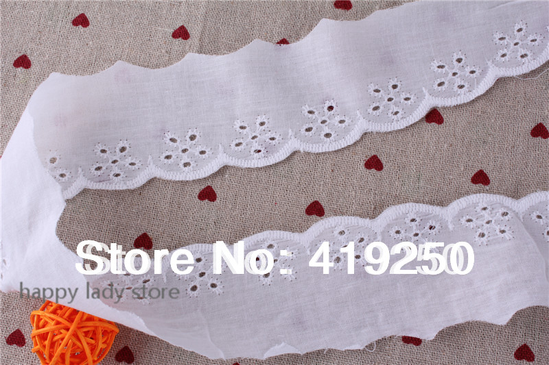 150Yard 100 Cotton Lace White Cotton Ruffle Eyelet Lace 4cm Crafts Costume Larp Sewing wholesale